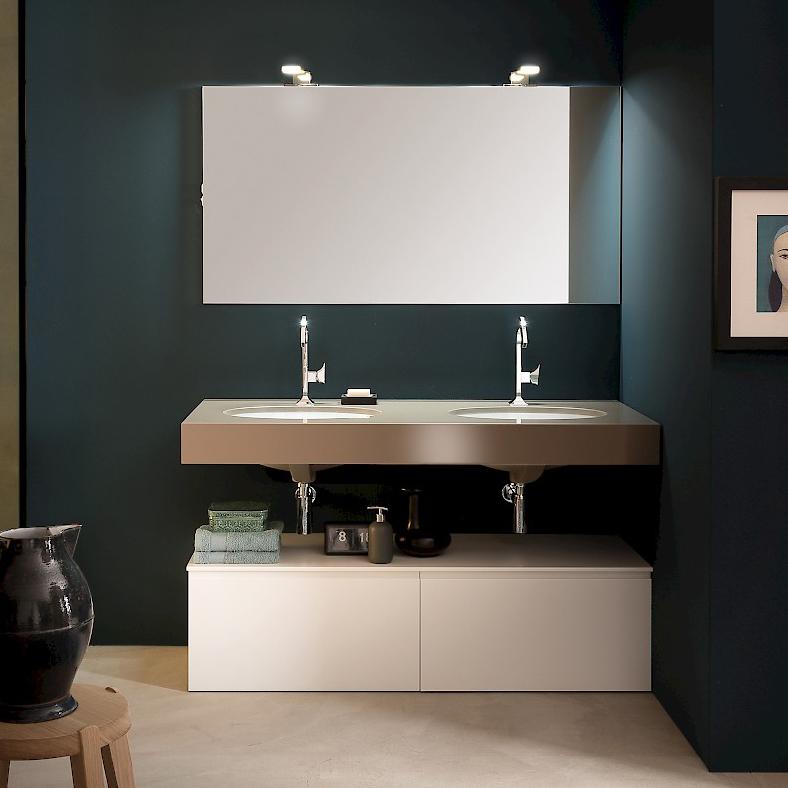 T125 03 mobile arredo bagno design l 140 x p 51 cm personalizzabile compab interno77 - Mobile bagno doppio lavabo 140 ...