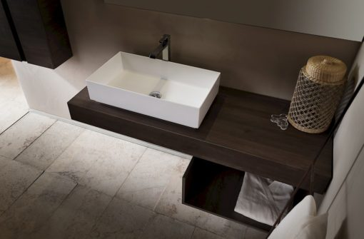 T125 08 - Mobile arredo bagno design L 50+140 x P 20,8/51 cm personalizzabile COMPAB