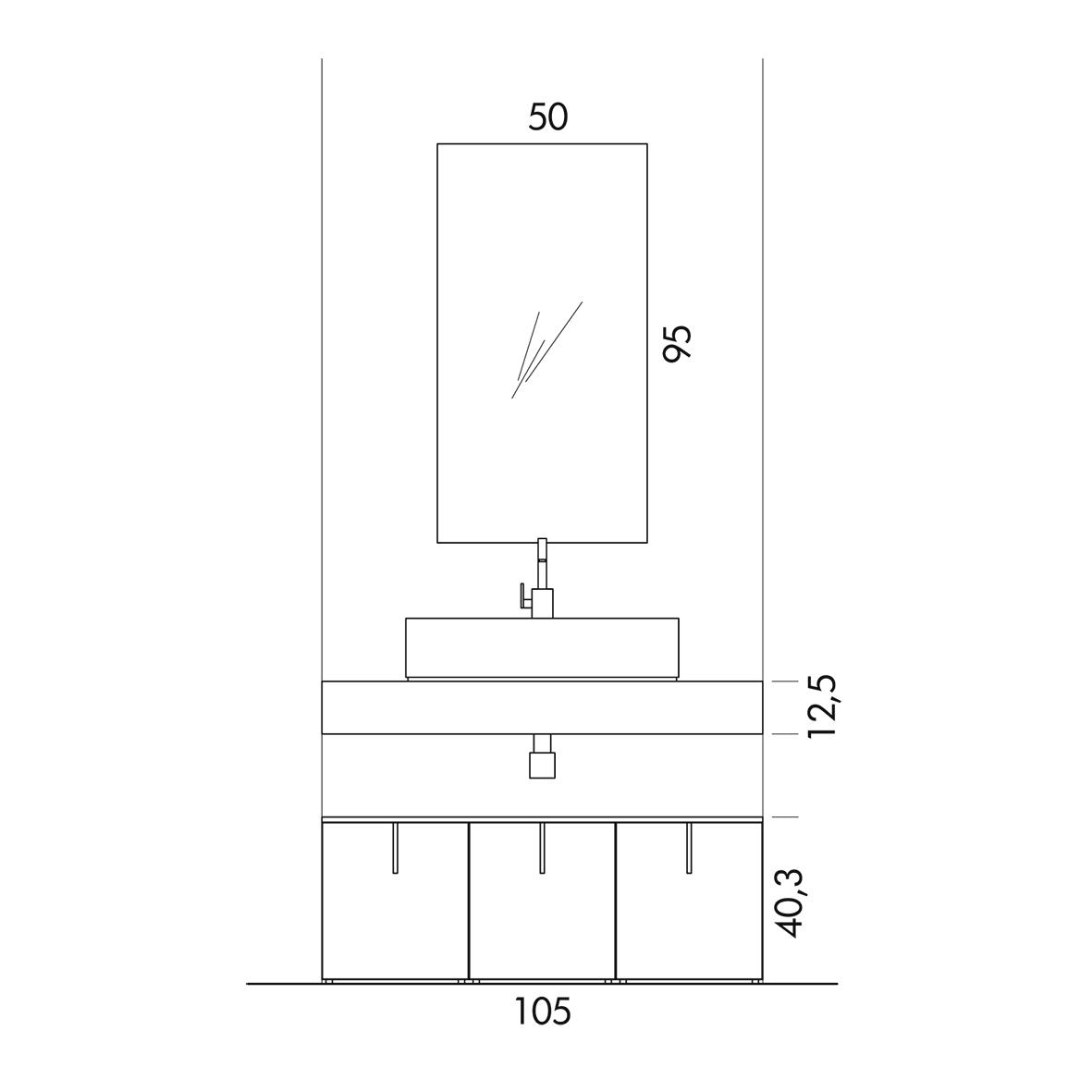 T125 09 mobile arredo bagno design l 105 x p 51 cm for Mobile bagno misure