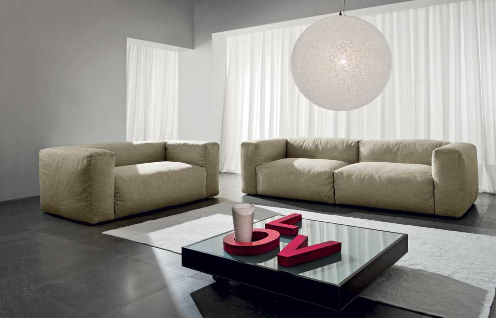 Fluffy – Divano design moderno in tessuto o ecopelle 100% made in ...