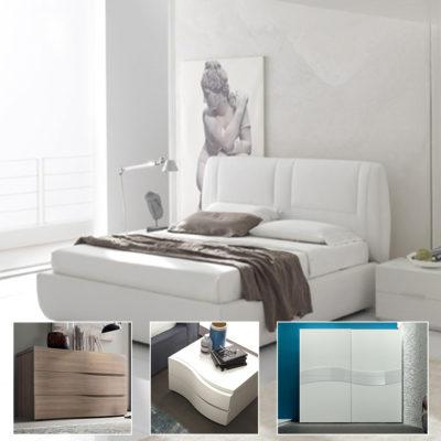 Wall 5 - Camera matrimoniale completa con armadio scorrevole 2 ante, comò e comodini - MARONESE ACF