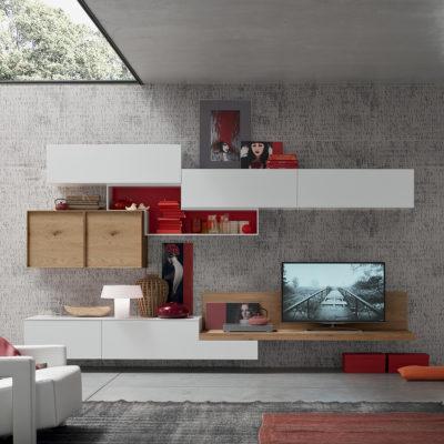 Seta SA1570 - Mobile soggiorno moderno componibile L 373,5 cm MARONESE ACF