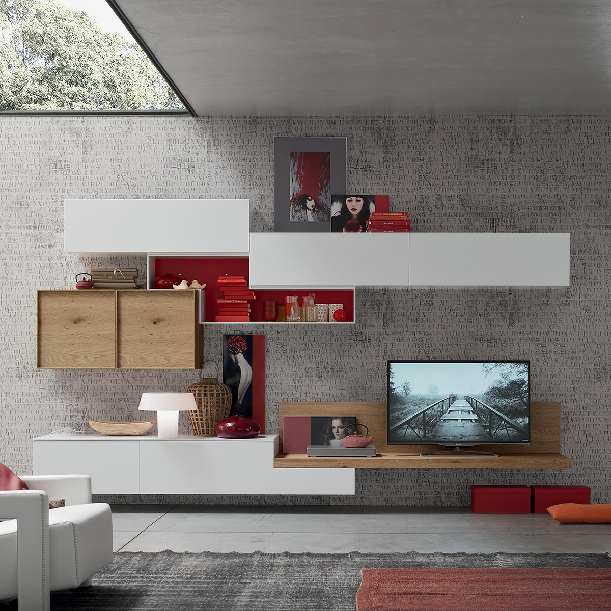 Seta sa1552 mobile soggiorno moderno componibile l 352 2 for Mobile da soggiorno moderno