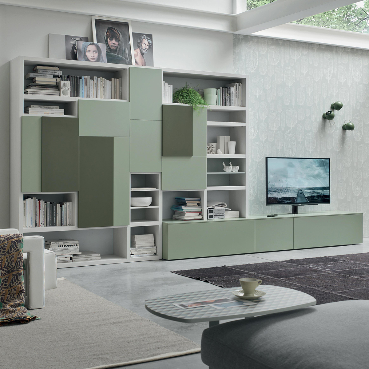 Seta SA1571 - Mobile soggiorno moderno componibile L 408,8 ...