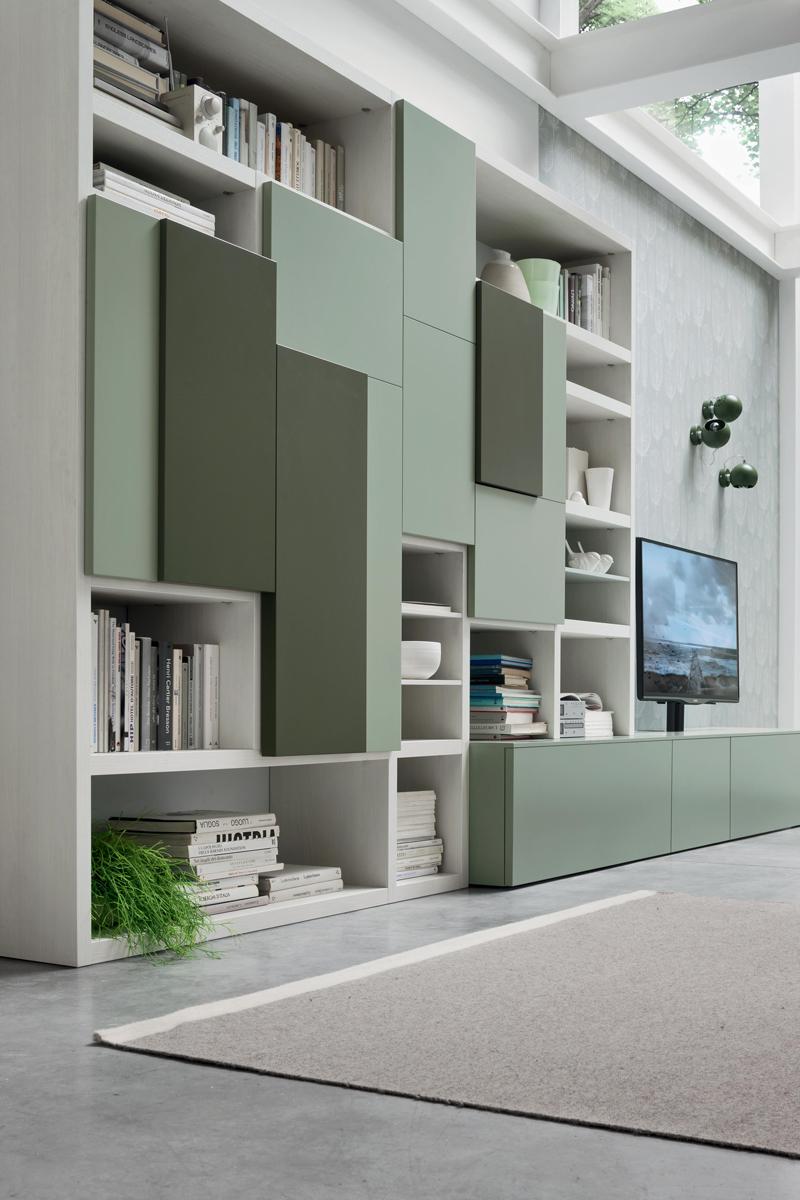 Seta SA1571 - Mobile soggiorno moderno componibile L 408,8 cm MARONESE ACF - INTERNO77 ...