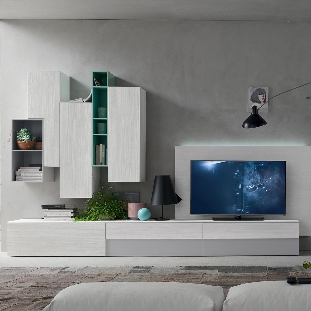 Seta sa1558 mobile soggiorno moderno componibile l 334 6 for Mobile da soggiorno moderno
