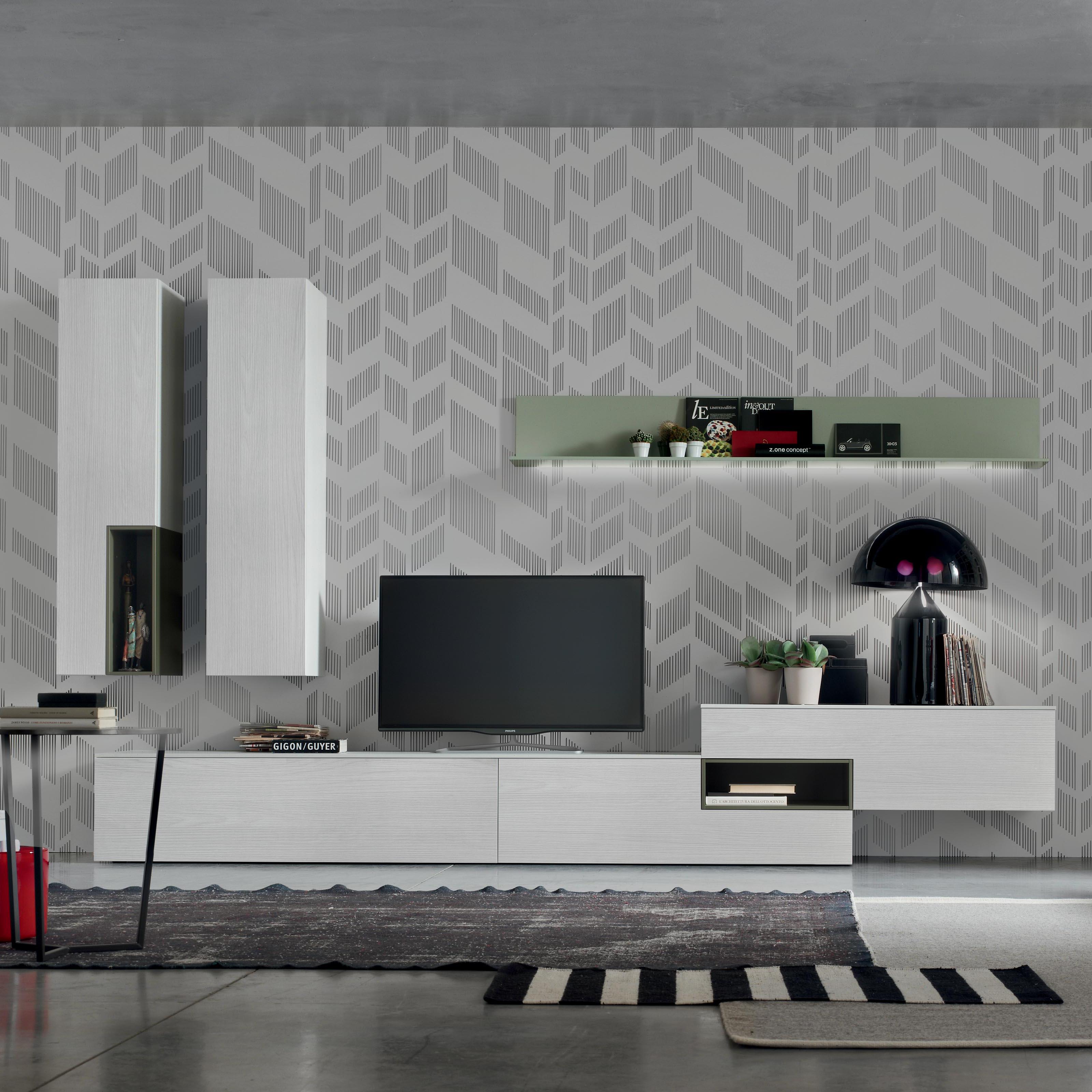 Dettagli su Seta SA1565 – Mobile soggiorno moderno componibile L 352,2 cm  MARONESE ACF
