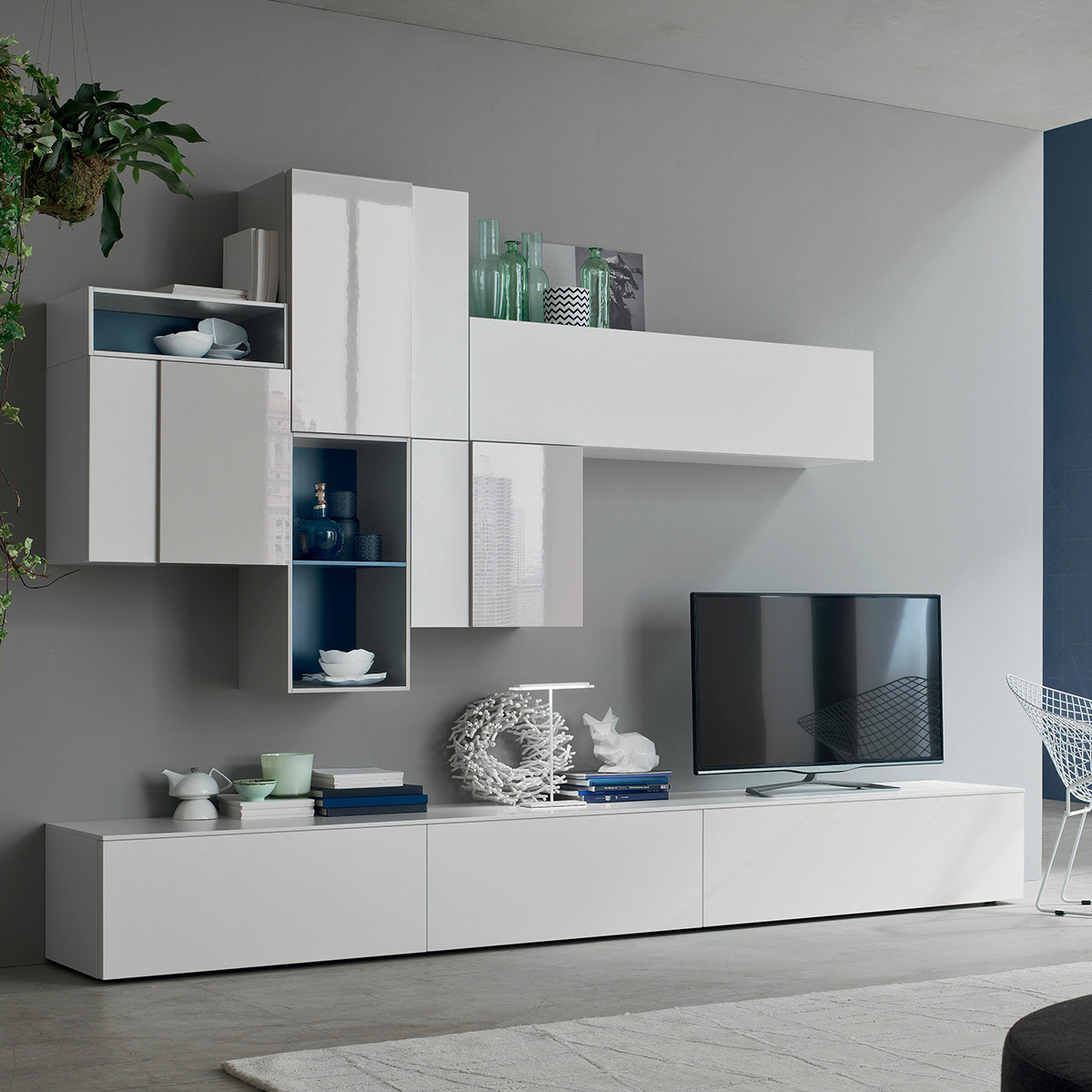 Seta SA1551 - Mobile soggiorno moderno componibile L 317,0 cm ...