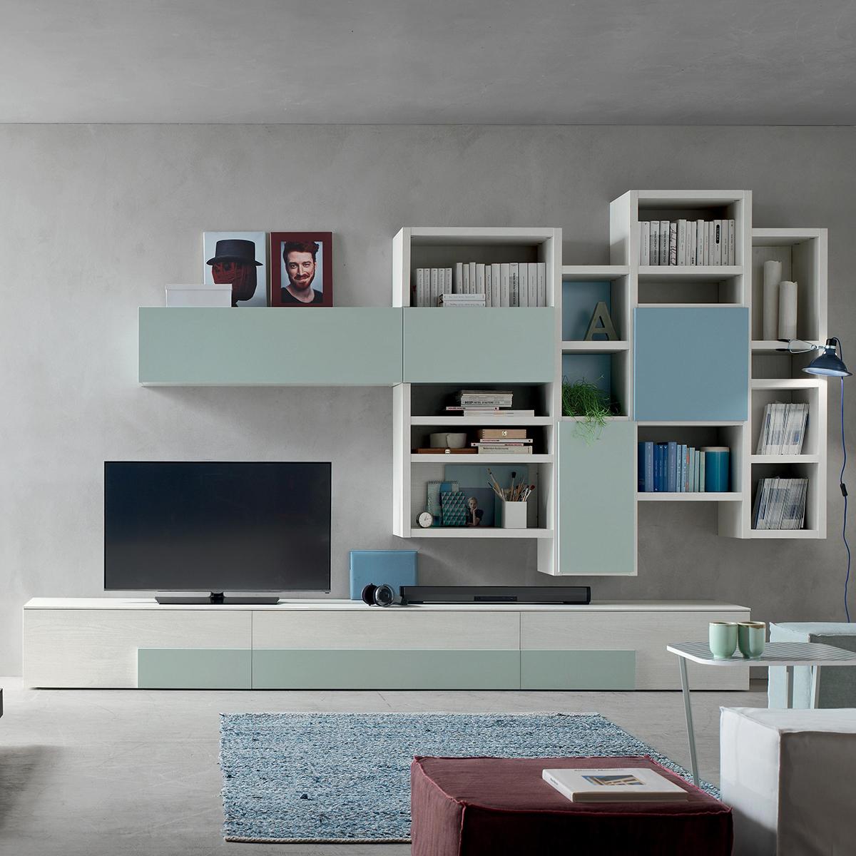 Seta SA1570 - Mobile soggiorno moderno componibile L 373,5 ...