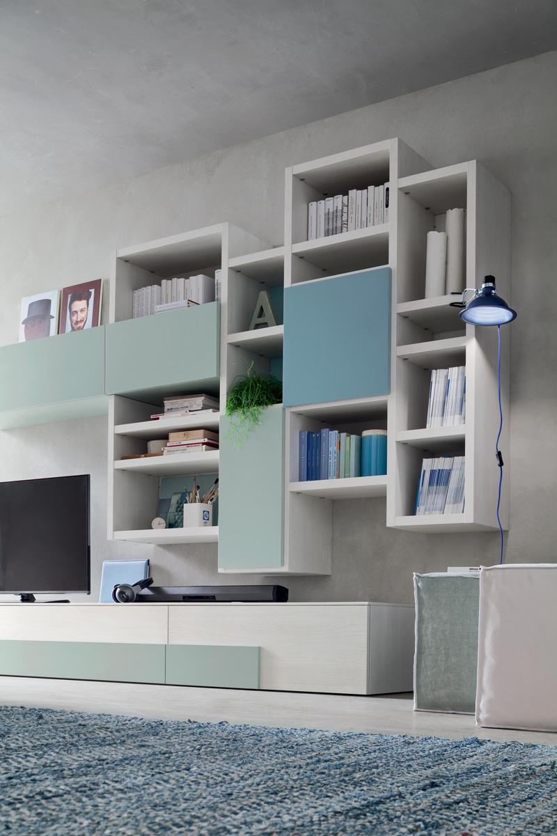 Seta SA1570 - Mobile soggiorno moderno componibile L 373,5 cm MARONESE ACF - INTERNO77 ...