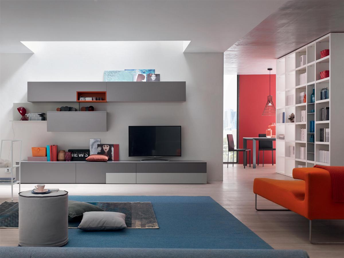 Seta SA1557 - Mobile soggiorno moderno componibile L 352,2 cm MARONESE ACF - INTERNO77 ...
