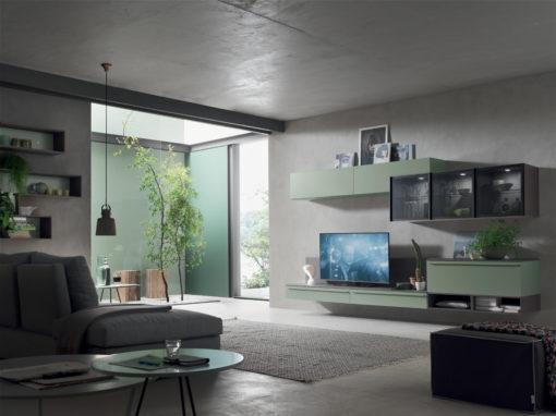 Seta SA1551 - Mobile soggiorno moderno componibile L 317,0 cm MARONESE ACF