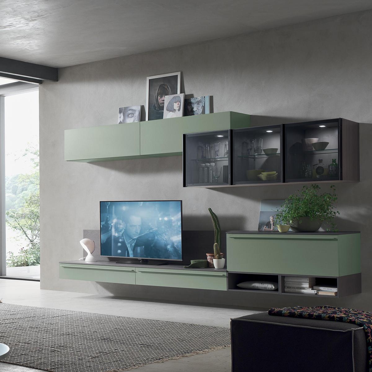 Seta sa1551 mobile soggiorno moderno componibile l 317 0 for Mobile da soggiorno moderno