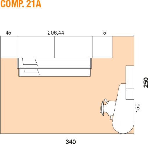 Mya - Cameretta bambino componibile e personalizzabile comp. 21A MAB