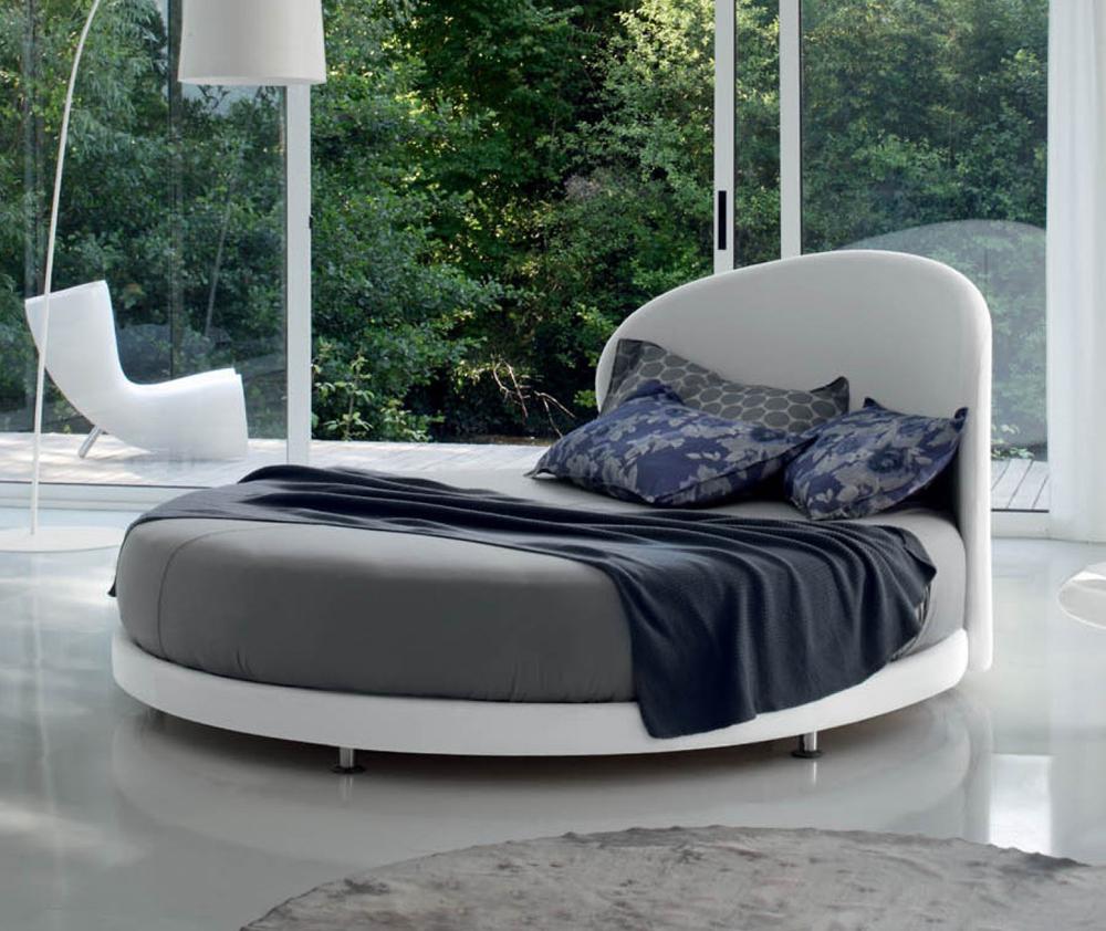 Kaleido letto rotondo matrimoniale con testiera curva in ecopelle o tessuto made in italy - Letto con materasso incluso ...