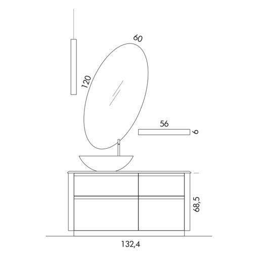 Ink 31A - Mobile luxury arredo bagno L 132,4 x P 51,5 cm personalizzabile COMPAB