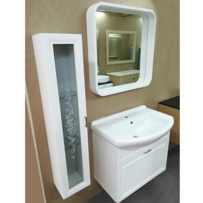 WHITE - Mobile da bagno con specchio L 74 cm + Colonna L 25 cm - Pronta Consegna
