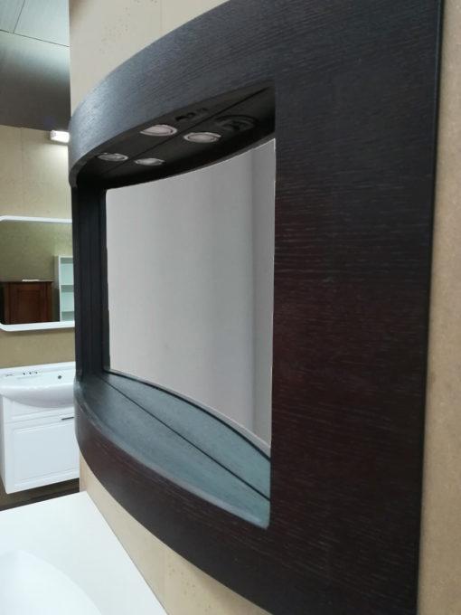 MOON – Mobile da bagno curvo con specchio L 122 cm Wengè – Pronta Consegna