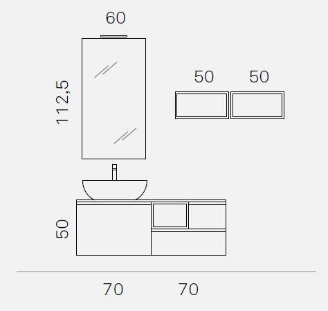 ELY J 65 - Mobile arredo bagno L 140 x P 51 cm personalizzabile ARCOM