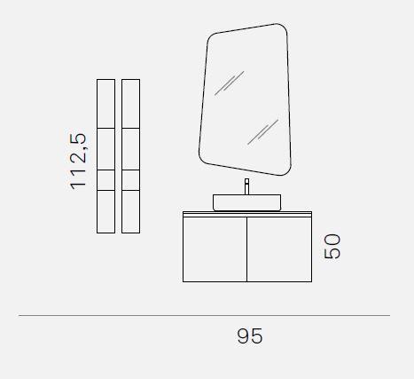 ELY J 72 - Mobile arredo bagno L 95 x P 51 cm personalizzabile ARCOM